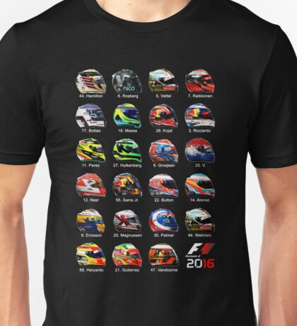 Formula 1 2016 drivers helmets all Unisex T-Shirt