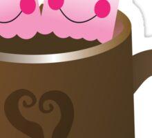 Hot Chocolate with seriously cutie Kawaii marshamallows Sticker