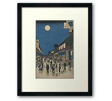 Night view of Saruwaka-machi - Hiroshige Ando - 1856 Framed Print