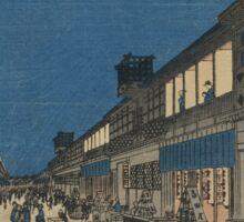 Night view of Saruwaka-machi - Hiroshige Ando - 1856 Sticker