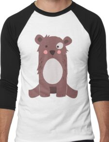 Cute brown bear Men's Baseball ¾ T-Shirt