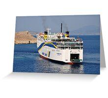 Docking ferry, Halki Greeting Card