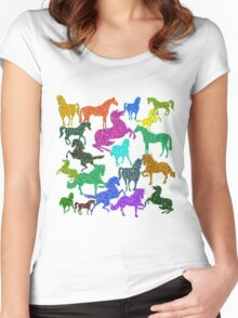 Rainbow Horses  Women's Fitted Scoop T-Shirt