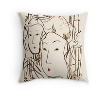 Japanese Bamboo Forest Throw Pillow