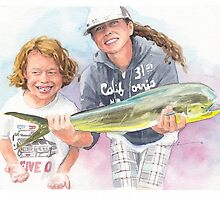 mom, son, & fish watercolor by Mike Theuer