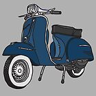 Vespa Illustration - Blue by thyearlofgrey