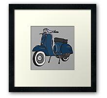 Vespa Illustration - Blue Framed Print