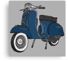 Vespa Illustration - Blue Canvas Print