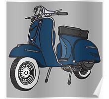 Vespa Illustration - Blue Poster