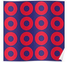 Red and Blue Polka dot Poster