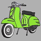Vespa Illustration - Lime by thyearlofgrey