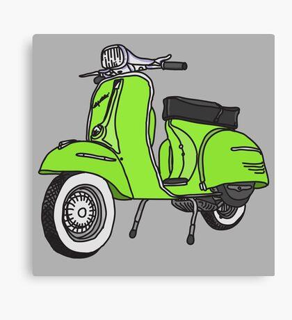 Vespa Illustration - Lime Canvas Print