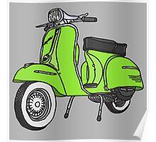 Vespa Illustration - Lime Poster