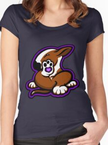 English Bull Terrier Kicking Back Brown and White  Women's Fitted Scoop T-Shirt