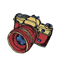 Classic 35mm SLR Camera in Fall Colors Photographic Print