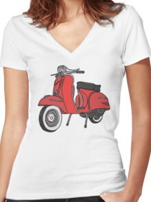 Vespa Illustration - Red Women's Fitted V-Neck T-Shirt