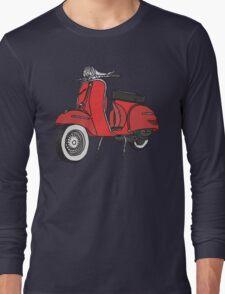 Vespa Illustration - Red Long Sleeve T-Shirt