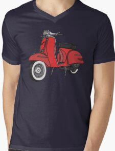 Vespa Illustration - Red Mens V-Neck T-Shirt