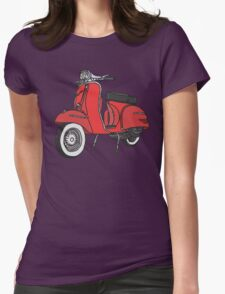 Vespa Illustration - Red Womens Fitted T-Shirt