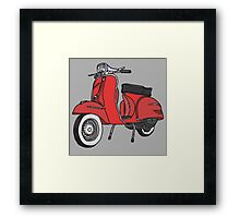 Vespa Illustration - Red Framed Print