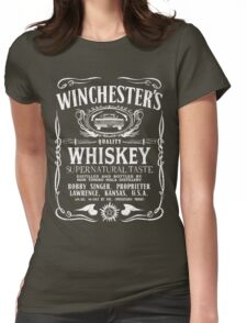 Supernatural - Winchester's Whiskey (White text) Womens Fitted T-Shirt