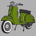 Vespa Illustration - Pesto Green by thyearlofgrey