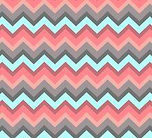 Vintage Pastel Lava Peach Aqua Chevron Pattern Design by RexLambo