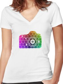 Camera Colors Women's Fitted V-Neck T-Shirt