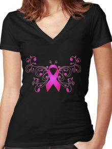 Breast Cancer Butterfly Ribbon Women's Fitted V-Neck T-Shirt