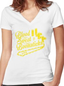 Blood Sweat and Boomsticks Women's Fitted V-Neck T-Shirt