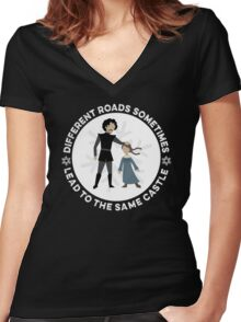 Different Roads Sometimes Lead To The Same Castle Women's Fitted V-Neck T-Shirt