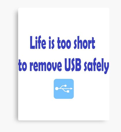 Life is too short to remove USB safely Canvas Print