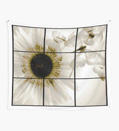 transparent flower in  grey Wall Tapestry