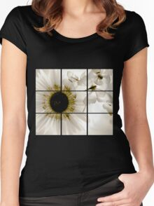 transparent flower in  grey Women's Fitted Scoop T-Shirt