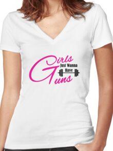 Girls just wanna have guns workout apparel Women's Fitted V-Neck T-Shirt