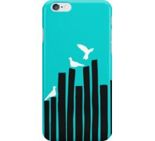 Bird on the fence - blue iPhone Case/Skin