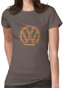 VW Logo in Westfalia Plaid Womens Fitted T-Shirt