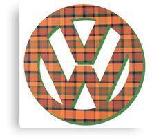 VW Logo in Westfalia Plaid Canvas Print