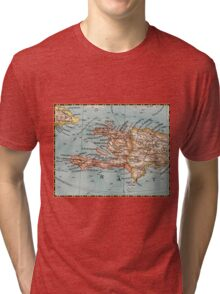 1900 Haiti map design - birthday gift for friend - New Year gift - Christmas gift Tri-blend T-Shirt