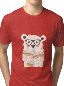 Cute polar bear with glasses and scarf Tri-blend T-Shirt