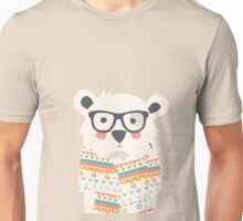 Cute polar bear with glasses and scarf Unisex T-Shirt