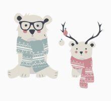 Two hipster polar bears Kids Tee