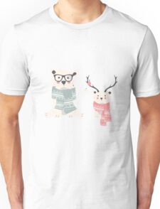 Two hipster polar bears Unisex T-Shirt