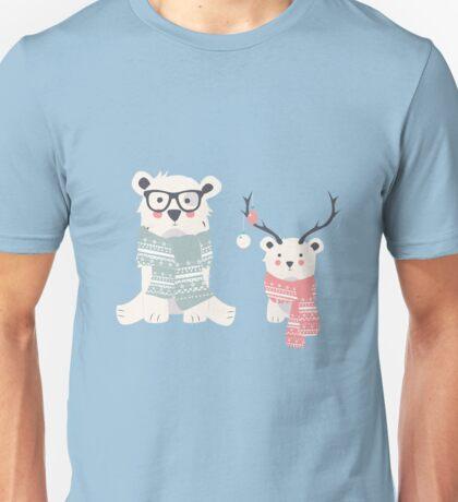 Two hipster polar bears Unisex T-Shirt