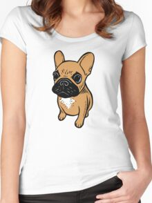 Fawn Frenchie Puppy  Women's Fitted Scoop T-Shirt