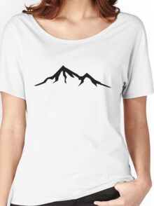 Ski Skiing Mountain Mountains Skiing Skis Silhouette Snowboard Snowboarding 4 Women's Relaxed Fit T-Shirt