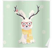Hipster polar bunny Poster