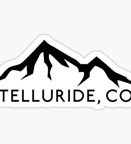 TELLURIDE COLORADO Ski Skiing Mountain Mountains Skis Silhouette Snowboard Snowboarding Sticker