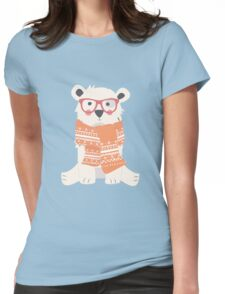 Hipster polar bear in the forest Womens Fitted T-Shirt