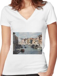 Canal Street Venice Women's Fitted V-Neck T-Shirt